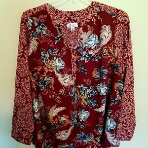 Denim & Company | Long Sleeve Button Down Shirt